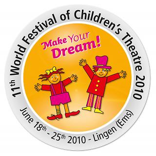 Aufkleber 11. Welt-Kindertheater-Fest 2010 - Copyright Stadt Lingen