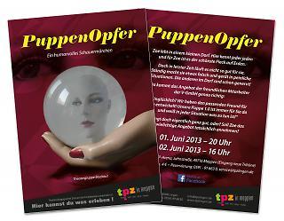 "Flyer Theaterstück ""Puppenopfer"" - Copyright welt-gestalten.de"