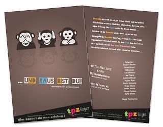 """Flyer Theaterstück """"... und raus bist du!"""" - Copyright welt-gestalten.de"""