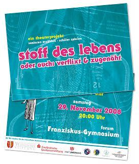 "Flyer Theaterstück ""Stoff des Lebens"" - Copyright welt-gestalten.de"