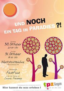 """Plakat """"Und noch ein Tag im Paradies?!"""" - Copyright welt-gestalten.de"""