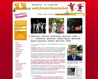 Screenshot www.weltkindertheaterfest.de - Copyright Stadt Lingen