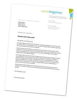 Briefpapier  Institut Kogemus - Copyright welt-gestalten.de