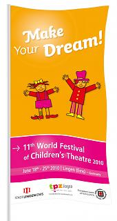 Fahne 11. Welt-Kindertheater-Fest 2010 - Copyright Stadt Lingen