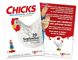 "Flyer Theaterstück ""Chicks"" - Copyright welt-gestalten.de"