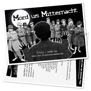 "Flyer Theaterstück ""Mord um Mitternacht"" - Copyright welt-gestalten.de"